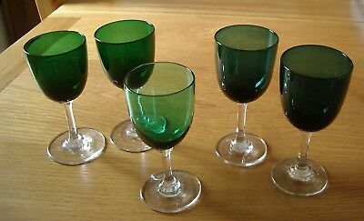 5 Vintage Dark Green Stemmed Small Wine Glasses—2 Pairs And One Single.