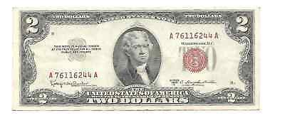 Series 1953-C United States US $2 Dollar Legal Tender Note Red Seal