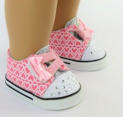 Pink Hearts Sneakers Shoes for American Girl 18 inch Doll Clothes TRUE US SELLER