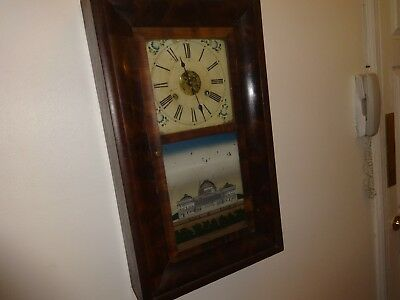 Antique Chauncey Jerome wall clock with early original weights and winding key