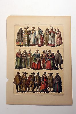 Antique MIDDLE AGES COSTUME Print by F. Hottenroth-1884 SPANISH / PORTUGUESE #2