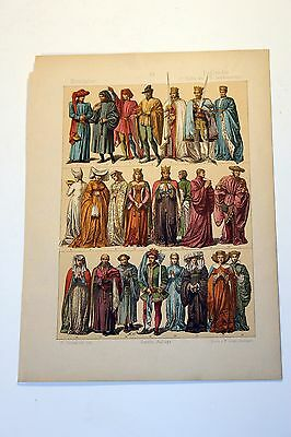 Antique MIDDLE AGES COSTUME Print by F. Hottenroth-1884 ENGLISHMEN 15th Century