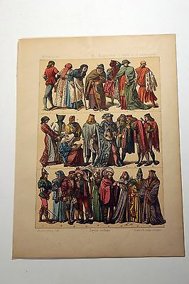 Antique MIDDLE AGES COSTUME Print by F. Hottenroth-1884 ENGLISHMEN 15th Century2