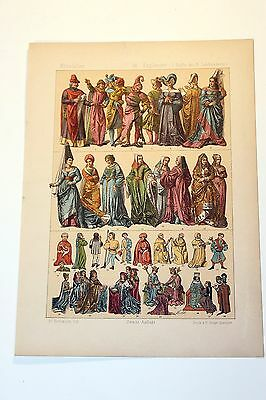 Antique MIDDLE AGES COSTUME Print by F. Hottenroth-1884 ENGLISHMEN 15th Century3