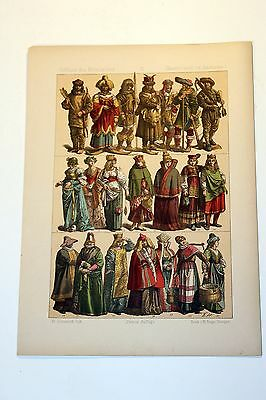 Antique MIDDLE AGES COSTUME Print by F. Hottenroth-1884 GERMAN 16th Century #3