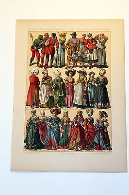 Antique MIDDLE AGES COSTUME Print by F. Hottenroth-1884 GERMAN 16th Century