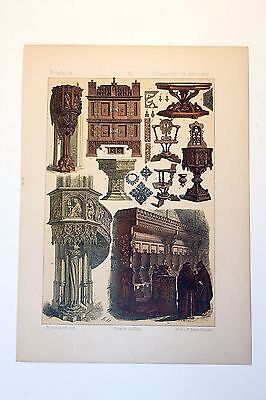 Antique MIDDLE AGES COSTUME Print by F. Hottenroth-1884 GERMAN 15th Century #4