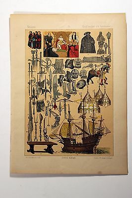 Antique MIDDLE AGES COSTUME Print by F. Hottenroth-1884 ENGLISHMEN 16th Century6