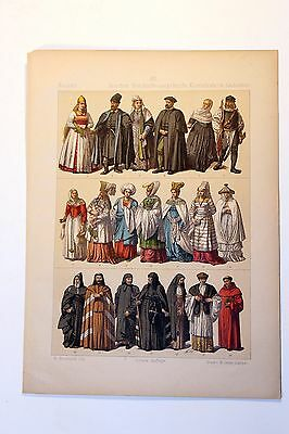 Antique MIDDLE AGES COSTUME Print by F. Hottenroth-1884 GREEK / POLISH