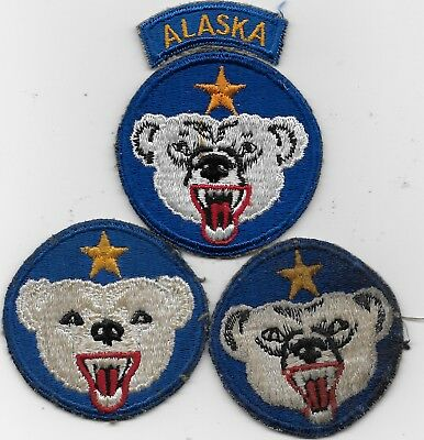 "Three Variations Of Wwii ""alaska Department With 1 Tab"" Patches - All F/emb"