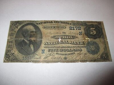 $5 1882 Athol Massachusetts MA National Currency Bank Note Bill #2172 Date Back!