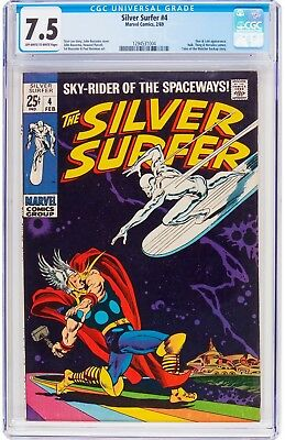 Silver Surfer #4 Marvel Comics 1969 - CGC 7.5 VF- OW/W Pages - Thor & Loki App.