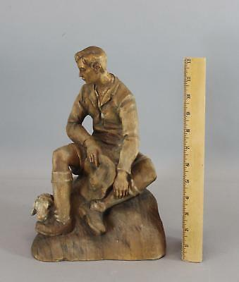 Large Antique Swiss Carved Wood Sheppard Boy & Lamp Sheep, NR