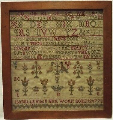 Small Mid/late 18Th Century Motif & Quotation Sampler By Isabella Burn - 1773