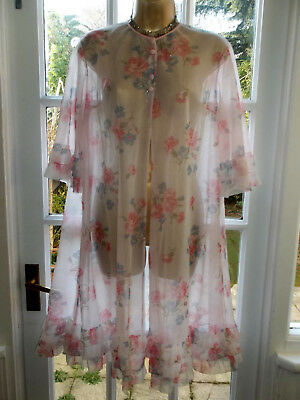 """Vintage 1960's Double Layer Ultra Sheer See Thru Nylon Night Robe Gown 38"""""""