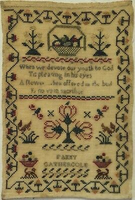 SMALL MID/LATE 19TH CENTURY MOTIF & VERSE SAMPLER BY FANNY GATHERCOLE - c.1860