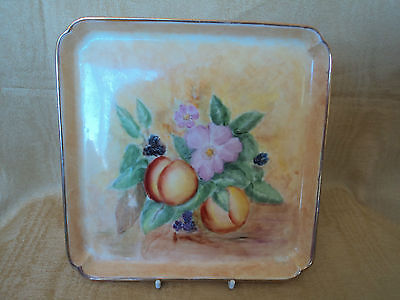 Vintage Hand Painted Fruits Dish - Gold Signature On Reverse (Mint)-Lovely Item.