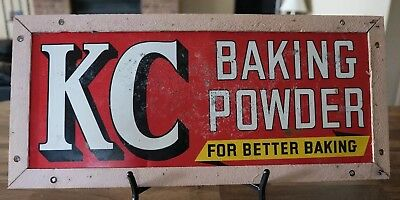 Vintage 1940s KC Baking Powder Double Sided Advertising Tin Sign