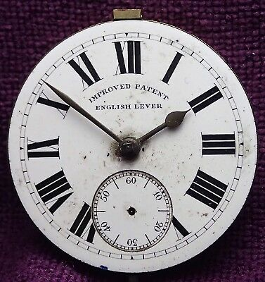 IMPROVED PATENT English Lever Enamel Dial Gents POCKET WATCH  Movement  c 1890