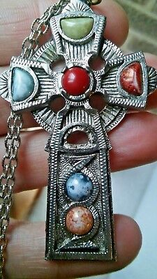 Vintage Scottish  Agate Silver Plated Celtic Cross Pendant With Chain Jem 72