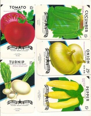 51 Old Vintage Vegetables Seed Packets - Lone Star Seed Co. San Antonio ,Texas.,