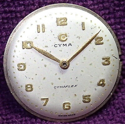 CYMA CYMAFLEX Gents Wristwatch Movement  circa 1950`s / 60`s Good Balance