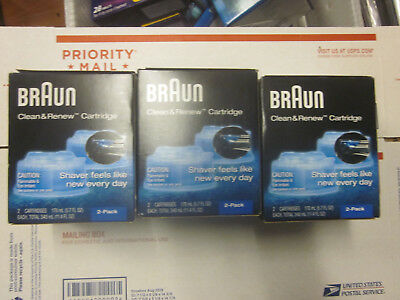 Braun Clean and Renew 2 Pack, Cartridge, Refill, Replacement Cleaner (Lot Of 3)