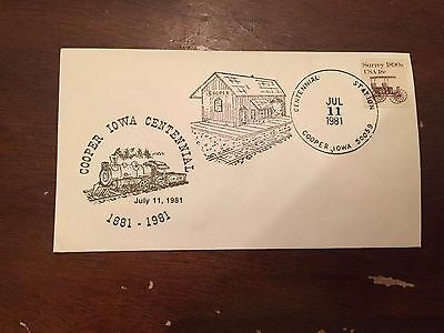 1981 Cooper Centennial Cooper Iowa Special Stamp Cover