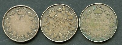 Canada Lot Of Three Early Ten Cent Coins In Rims As Shown