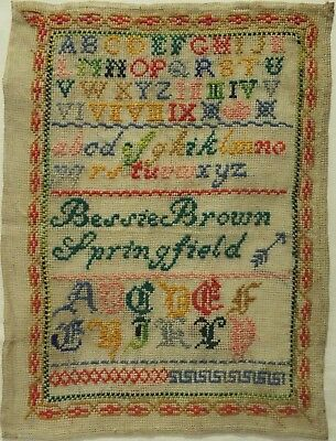 LATE 19TH/EARLY 20TH CENTURY SAMPLER BY BESSIE BROWN OF SPRINGFIELD - c1895-1905