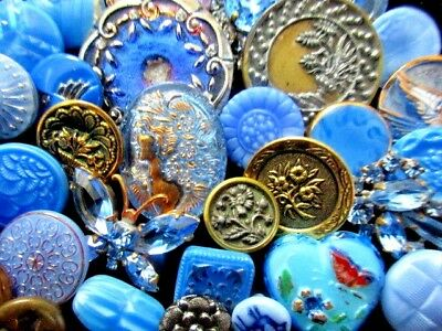 BUTTONS  Mix of Pretty VINTAGE & NEW Glass & Metal & Rhinestone Shades of Blue