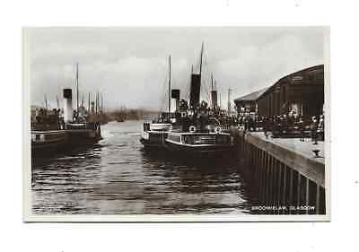 Real Photo Postcard Glasgow Broomielaw Quay River Clyde Paddle Steamers c1910