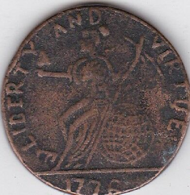 1776 massachusetts Pine tree liberty and virtue colonial  copy coin LOOK