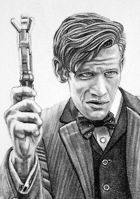 ORIGINAL ACEO sketch card DOCTOR WHO Matt Smith SONIC SCREWDRIVER