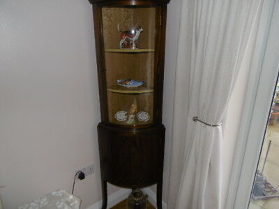 Edwardian Mahogany curved glass fronted display cabinet and cupboard