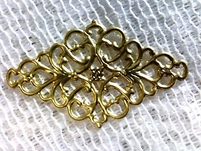 Vtg 30 GORGEOUS GOLD FILIGREE BRASS METAL DIAMOND FOCUS PIECE 55mm! #110515c