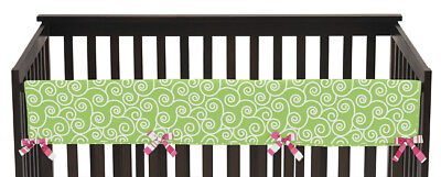 Jojo Green White Olivia Front Rail Guard Crib Cover Baby Teething Protector Wrap