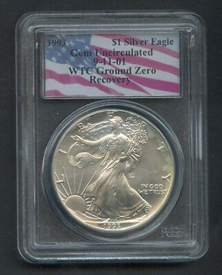 1993 WTC Ground Zero Recovery 9/11 Silver Eagle $1 PCGS Gem Uncirculated