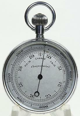 Solid silver English compensated pocket aneroid barometer & altimeter + case