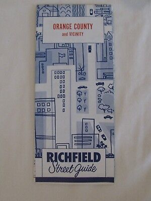 Vintage 1960s Richfield ORANGE COUNTY & VICINITY Road Map EXCELLENT MINTY