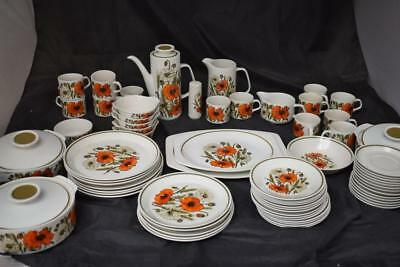Retro J&G Meakin Poppy Tableware (Approx 75 Pieces)