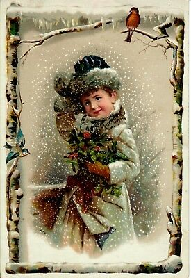 Victorian Girl, holding Holly. Robin. Birch Trim. Lion Coffee Trade Card.