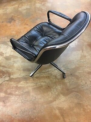 Knoll Charles Pollack VTG mid century Modern executive chair Black Leather MCM