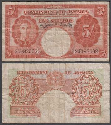 1953 Government of Jamaica King George VI 5 Shillings