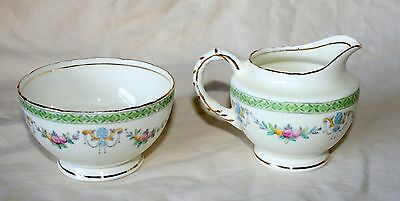 Antique Sutherland China Milk Jug & Sugar Bowl, Green Trim, Scrollwork, Gilding