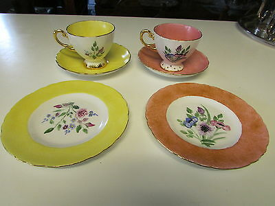 Vintage Pair of Tuscan TeacupTrio and Green Pin Tray Hand Painted by M Marshall
