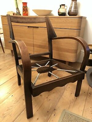 Vintage 1920s 1930s Art Deco bentwood arm chair for restoration upholstery