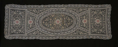 """Vintage Normandy Lace Runner Tambour Embroidery Needlepoint Dresser Scarf 43"""""""