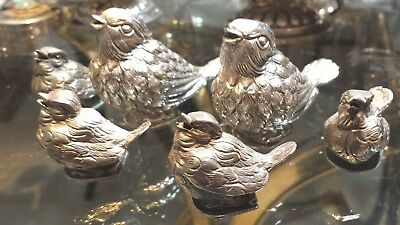 306g EXQUISITE STERLING SILVER SET OF 6 FAMILY SINGING BIRDS (2 PARENT+4 CHILDS)