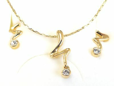 ANNALEECE BY DEVRIES 22k Gold Plated Clear Stone Necklace & Earrings Set - W69